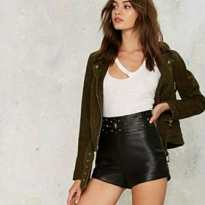 Nasty Gal Collection Black Leather Studded Shorts